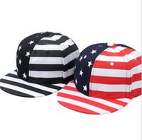 Wholesale wholesale american flag hats - American Flag Hip Hop Hats For Men Women Hats Street Casual Fashion Snapback Caps Teenager Hiphop Caps Street Dance Hats KKA5120