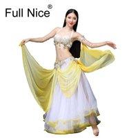 geführte bühnenkostüme großhandel-Stage Dance Wear 2018 Bauchtanz Kleidung Oriental Dance Outfits Bauch Perlen Kostüm BH Rock LED Kostüm