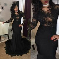 Wholesale Vintage Boat Lights - 2018 Sexy Black Girls Prom Dresses Mermaid Boat Neck Long Sleeves See Though Lace Appliques African Sweep Train Formal Evening Party Gowns