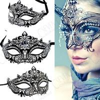 metal filigree toptan satış-Yetişkin Metal Telkari Çift Kostüm Masquerade Maske Venedik Balo Balo Olay Mardi Gras Rhinestone Düğün Parti Maskesi Seti