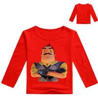 ingrosso modello t-shirt bambini-2-12Years The Hello Neighbor T Shirt Toddler Boys Abbigliamento Maglione per bambini Adolescente T-shirt manica lunga in cotone Top Model
