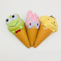 Wholesale plastic toy frogs - Torch Ice Cream Cone Emulation Slow Rising Decompression Toy Squishy Rabbit Frog Bear Shape Simulation Squishies PU Toys 11 9ys W