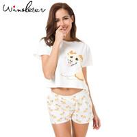 Wholesale lounge pyjamas sets women - Corgi Pajamas Women Cute Dog Print Crop Top + Shorts 2 Pieces Set Cotton Pajamas Loose Elastic Waist Lounge pyjamas S61004