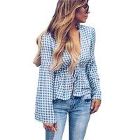 7cda3e37af06f ... cotton blend long sleeve v neck polka dot shirt flare sleeve blouse  female tops blusa. 50% Off