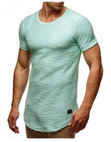 Wholesale thin long sleeve t shirts - Men Cotton T Shirt New Fashion Soild Color Short Sleeves Crew Neck Summer Casual Thin Tee Clothes
