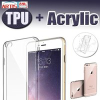 Wholesale clear dust plugs - Ultra Slim Case for Apple iPhone X 8 7 Plus 6 6S Hard Acrylic Back with Soft Silicone Bumper Clear Transparent Cover With Dust Plug