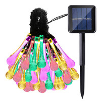 Wholesale Outdoor Lighted Christmas Decor - Solar String Lights Outdoor Multicolor 6M 30 LED Water Drop Garden Christmas Party Decor Dream Fairy Lamp