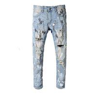 pantalones delgados de lujo para hombre al por mayor-2019 Miri estilo europeo marca para hombre mujer pantalones vaqueros de lujo pantalones de mezclilla pantalones rectos remiendo del agujero azul pantalones vaqueros