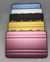 mini cartão mala venda por atacado-Titular de Cartões de Liga de alumínio Criativo Mini Mala de Arquivos de Cartão de Visita Caixa Colorida Fácil de Transportar Acessórios de Mesa 13ys C R