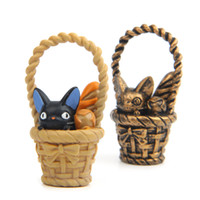 pão de pão bonito venda por atacado-Black Cat Bread Esconder na Cesta Resina Action Figure Collectible DIY Decoração Do Jardim Presente Bonito Brinquedos Tamanho de 5.2 cm