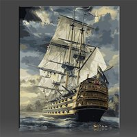 Wholesale paintings sailing boats resale online - Sailing Boat Painting Coloring By Numbers On Canvas DIY Handpainted No Frame Oil Painting Coloring By numbers Home Decor