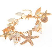 рыба для рукоделия оптовых-Braclet 1 Piece Mediterranean style DIY Fashion Beach Mixed Seashells Mix Sea Shells Crafts for Aquarium Fish travel bracelet