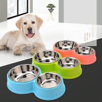Wholesale Pet Food Containers - Pet Supplies Dog Bowl Double Stainless Steel Plastic Cat Food Eating Bowls Water Container for Dogs