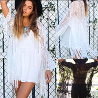 Wholesale fringe cape - Women Summer Coat Lace Hollow Floral Casual Tassel Long Boho Fringe Kimono Shawl Cardigan Cover Up Cape Tops LJJO4597