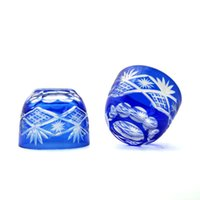 ingrosso occhiali soffiati-Blow Bohemian Czech blue Taglio a Clear shot Bicchiere di liquore al bicchiere di sake
