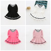 Wholesale Chinese Clothing For Kids - Children Costumes Girls Sweet Princess Dress Baby Girl School V Neck Dresses for Birthday Party Long Sleeved Girl Kids Clothes