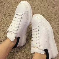 Wholesale platform muffin shoes online - With Box New Women Alexanders Luxury White Leather Platform Shoes Flat Lady Muffin Sports Sneakers Casual McQueens Shoes