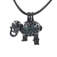 Wholesale lockets bulk resale online - Fat Elephent Black Bulk Pearl Cages Christmas Best Kid Love Wish Oyster Pearl Pendants Gift Gemstone Lockets DIY Charms Without Akoya Pearls