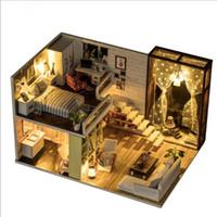 ingrosso stanza di legno in miniatura di bambola della bambola-Camera carina Casa delle bambole fai-da-te 3D Miniatura in legno Case delle bambole Giocattoli in miniatura per le case delle bambole Con mobili Regalo di Natale