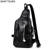 черный мешок покупателя оптовых-SNAP TOURS  Shoulder Leather  Handbag 2018 Fashionable Male Black Chest Clutch Bag Shopper Crossbow Sling Bag Man