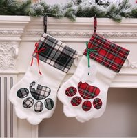 Wholesale Christmas Stocking Monogrammed Pet Dog Paw Gift Bag Plaid Xmas Stockings Christmas Tree Ornaments Decorations Party Decor Styles YW1028