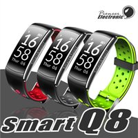Wholesale andriod watches resale online - Q8 Fitness Tracker Smart Watch Blood Pressure Heart Rate Sleep Camera remote Oxygen Monitor Smart Wristband Bracelet for Andriod and ios