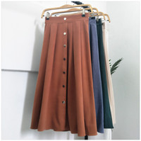 e635a7b1dd 1798 Retro thin section thin skirt in the long paragraph 2 high waist umbrella  skirt deerskin cashmere A word skirts