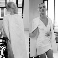 ingrosso elie saab v vestito bianco del collo-Elie Saab 2019 White Prom Dresses con avvolgere sequin in pizzo con scollo a V Gonne in raso Plus Size abiti da sera Abiti da Fiesta