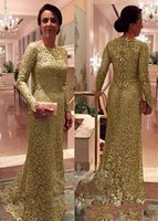 Wholesale Golden Yellow Formal Dress - 2018 Gorgeous Sheath Mermaid Mother Of The Bride Dress Golden Lace Appliques Long Sleeve Zipper Back Formal Mother Dresses Evening Dresses