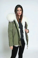 Wholesale Hood Lining - Women military Green jacket fox furs lining Ladies mini parkas hood with big raccoon fur collar UK USA Sweden