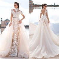 Wholesale Wish Dresses - 2016 Llorenzorossib Ridal Wedding Dresses Wish Sash Sexy Backless Custom Made Bridal Gowns Applique Detachable Mermaid Wedding Dress