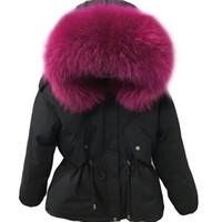 ingrosso giacche donna-giacca invernale donne cappotto parka 2018 moda naturale vero grande raccoon collo di pelliccia con cappuccio donna anatra piumini caldo vita sottile
