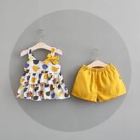 Wholesale Shirt Suspenders - NEW girs Kids sets 100%Cotton little chick design summer girl's set causal girl suspender t shirt + short kids clothing sets