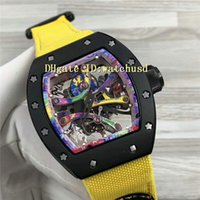 Discount titanium watch case - Top RM68-01 Men Watch Tourbillon Automatic 28800 VPH Tonneau Black Titanium Case Colored graffiti dial Sapphire Crystal Yellow Canvas strap