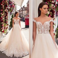 Wholesale nova summer t shirt for sale - Group buy 2019 Milla Nova Sheer Cap Sleeves Lace A Line Wedding Dresses Illusion Appliques Sweep Train Wedding Bridal Gowns With Buttons