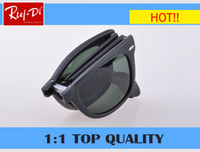 Wholesale Large Square Boxes - New Vintage Women Steampunk Oversize Folding Sunglasses Luxury Brand Designer Men Sunglasses UV400 Large G15 glass Lens With Case box 4105