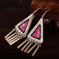 yunnan handmade Canada - Yunnan folk style Miao Silver Earrings Handmade Embroidery ethnic jewelry retro exaggerated female Earrings