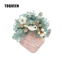 Wholesale vintage safety pins - TDQUEEN Brooches Vintage Natural Stone Brooch Antique Gold-color Safety Pin Jewelry Pearl Shell Bird Flower Brooch for Women