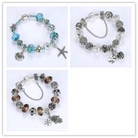 Wholesale diy stud bracelet resale online - DIY Starfish Shell Beads Bracelet Retro Blue Ocean Ornaments Palm Flower Beads Clover Beads Bracelet Exquisite Fashion Accessories