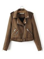 jaquetas de couro marrom da motocicleta venda por atacado-Jacket New Moda Mulheres Suede Motorcycle Magro Brown Full alinhado macia de couro falso Feminino Brasão Epaulet Zipper Casacos