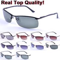 Wholesale uva uvb sunglasses - 3183 Men's Polarized Rectangle Coating Driving Glasses Mirror Women Fashion Polarized Sunglasses G15 Glass Lens Sunglasses UVA  UVB
