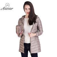 Wholesale girls goose down coats - [Aiweier]New Womens Ultralight Down Jackets Hooded Zipper Long Nylon Jackets White Goose Down Coats Winter For Girls AL2105