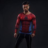 superheld kompressionsstrumpfhosen großhandel-Herren Fußball Trikots Kompression 3D T Shirts Breathable Superhero Fitness T-Shirts Tops Spiderman Strumpfhosen