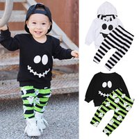 Wholesale smile kids clothing resale online - Kids Smile Face Outfit Ins Boys Halloween Clothing Sets Long Sleeve Shirt Stripe Ghost Pants Hoodie Pants Set