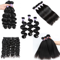 Wholesale Brown Curly Hair Extensions Weft - Body Wave Loose Curly Deep Wave Hair Weft Kinky Straight Unprocessed Brazilian Hair Bundles Peruvian Virgin Hair Extensions Indian Malaysian