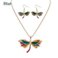 yusufçuk kolye küpe seti toptan satış-Rhao Kadınlar Renkli Damarlar ressam dragonfly Hayvan kolye ve küpe takı setleri kızlar kadınlar için parti rahat elbiseler hediye