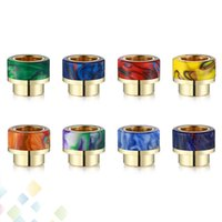 Wholesale stainless steel atomizers for sale - Group buy Epoxy Resin drip tip Colorful Wide Bore Stainless Steel Gilding Mouthpiece for Atomizers Tank with Retail Package DHL Free