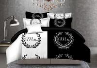 ingrosso set bianchi di piumini bianchi-Set di biancheria da letto per coppia bianco nero MrsMr Her Side His Side Copripiumino Set Biancheria da letto romantica Set No Sheet