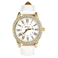 Discount geneva gold rhinestone watch - OTOKY Geneva Fashion Retro Faux Leather Quartz Rhinestone Womens Wrist Watch Lady Elegant Simple Bracelet Watches MAY17 D33