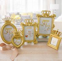 Wholesale crown decor resale online - 5Pcs set Luxury Gold Crown Picture Frame Photo Frame Set Home Decor Desktop Wedding Gift SN1945